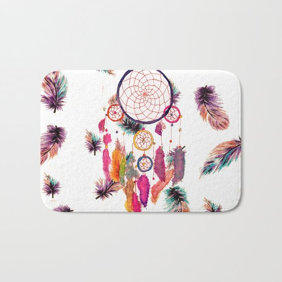 Hipster Watercolor Dreamcatcher Feathers Pattern Bath Mat