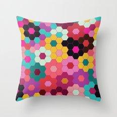 Honeycomb Blooms Throw Pillow