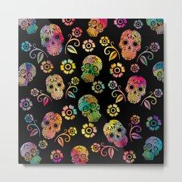 Hippie Skulls Metal Print