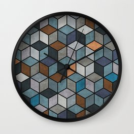 Colorful Hexagon Pattern - Blue, Grey, Brown Wall Clock