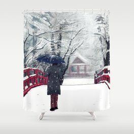 Footprints in Snow Shower Curtain