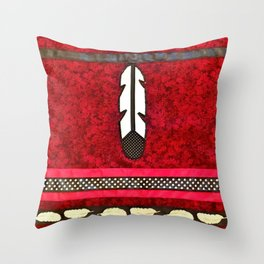Eagle Feathers on Red Throw Pillow