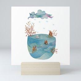Origami boat in a dream Mini Art Print