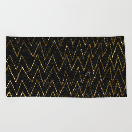 Elegant gold chevron #2 Beach Towel