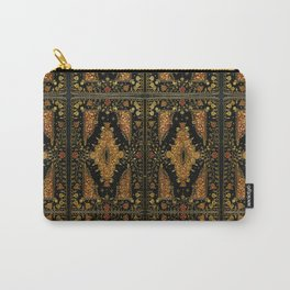 Black and Gold Floral Book Carry-All Pouch