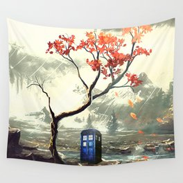 Tardis With A Tree Wall Tapestry
