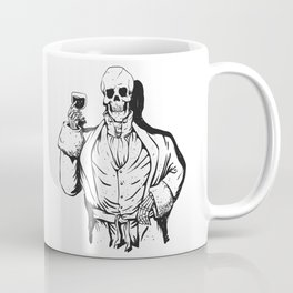 Vampire skeleton holding blood cup -  black and white Coffee Mug