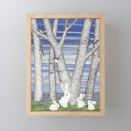 nuthatches, bunnies, and birches Framed Mini Art Print