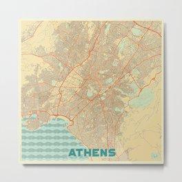 Athens Map Retro Metal Print