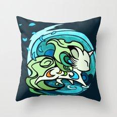 Water fox Throw Pillow