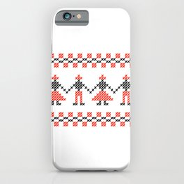 Traditional Hora people cross-stitch row white iPhone Case