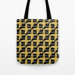 Gold glitter plaid on white stripes abd black background Tote Bag