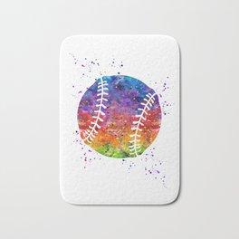 Baseball Ball Baseball Player Art Colorful Watercolor Art Gift Sports Artwork Bath Mat