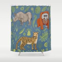 endangered animals, black rhino, amur leopard, bornean orangutan Shower Curtain