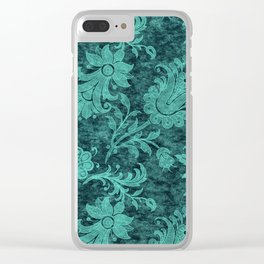 Burgundy Turquoise Velvet Floral Pattern 10 Clear iPhone Case