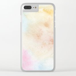 Vintage abstract pink blue yellow watercolor grunge Clear iPhone Case