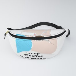 The girl bask in the morning in bed with a cup of aromatic coffee. Fanny Pack