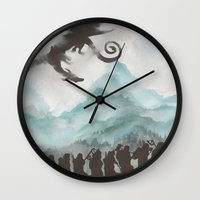 smaug Wall Clocks featuring The Desolation of Smaug by JadeJonesArt