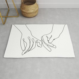 Pinky Promise One Line Art Rug