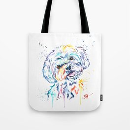 Havanese Colorful Watercolor Pet Portrait Painting Tote Bag