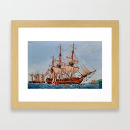 Revolutionary Painting of the Frigate Confederacy Framed Art Print