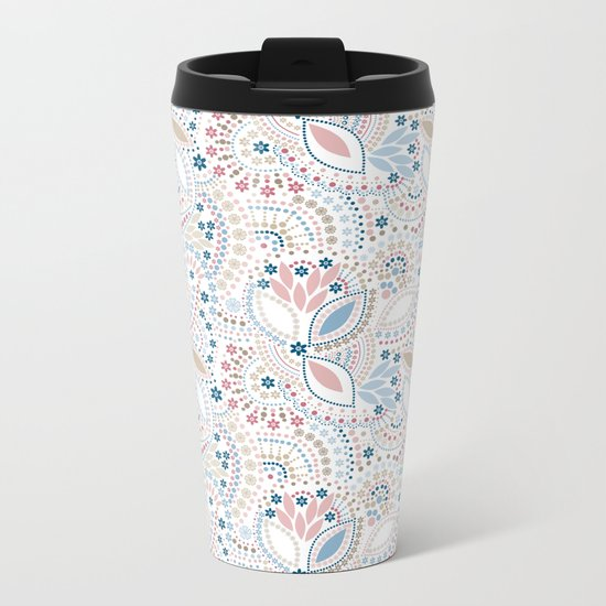Colorful pattern of pastel light colors with beads Metal Travel Mug