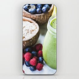 fresh smoothie with fruits, berries, oats and seed iPhone Skin