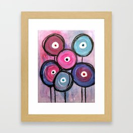 Abstract Circle Flowers Framed Art Print