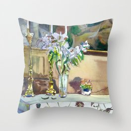 flowers and candles Throw Pillow
