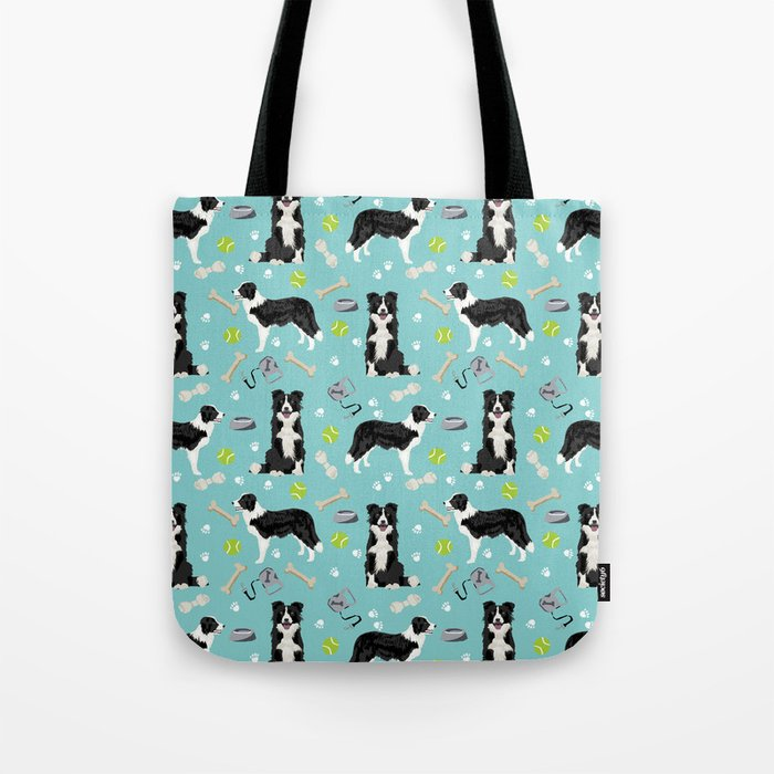 Border Collie tennis ball cute pet portrait by pet friendly dog patterns dog breed gifts Tote Bag