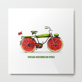 ORGANIC INVENTIONS SERIES: Vintage Watermelon Bicycle Metal Print