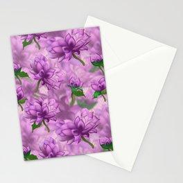 Violet Oriental Style Floral Spray Stationery Cards