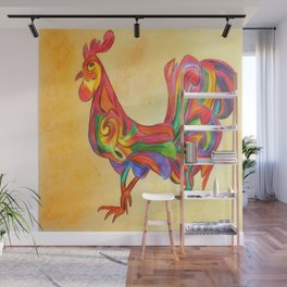 Abstract Rooster Wall Mural