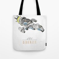 battlestar Tote Bags featuring The Serenity by Josh Ln