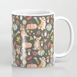 Welsh Corgi Dog Breed Fall Party -Cute Corgis Celebrate Autumn With Pumpkins Mushrooms Leaves - Oliv Green Coffee Mug
