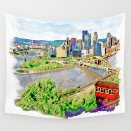 Pittsburgh Aerial View Wall Tapestry