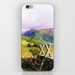 Stile over a Dry Stone Wall, Lake District, UK. Watercolour Painting iPhone Skin
