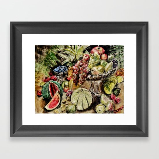 CRAYON LOVE - Fruit Framed Art Print