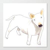 bull terrier Canvas Prints featuring Bull Terrier by jo clark