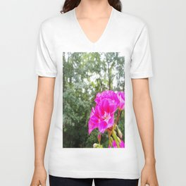 Fuchsia Flower Green Trees Unisex V-Neck
