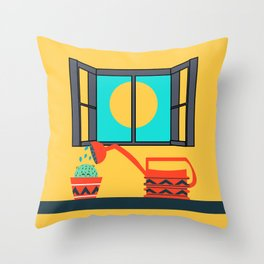 Cactus watering Throw Pillow