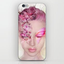 Portrait of a woman with wisteria make up iPhone Skin