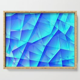 Abstract celestial pattern of blue and luminous plates of triangles and irregularly shaped lines. Serving Tray