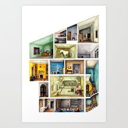 House with horse. Architectural section Art Print
