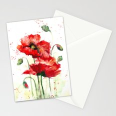 Watercolor flowers of aquarelle poppies Stationery Cards