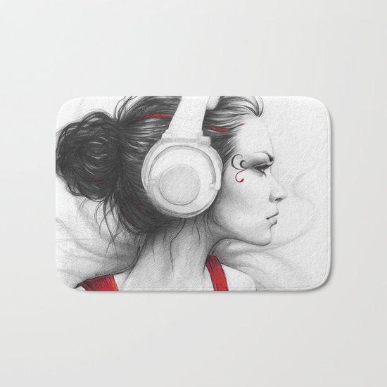 I Love Music | Girl in Headphones Bath Mat