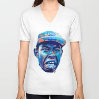 tyler the creator V-neck T-shirts featuring TYLER THE CREATOR: NEXTGEN RAPPERS by mergedvisible