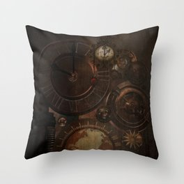 Brown steampunk clocks and gears Throw Pillow