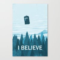 I Believe - Blue Canvas Print