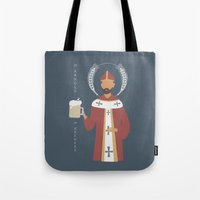 arnold Tote Bags featuring St. Arnold of Brewers by Sarah Duet